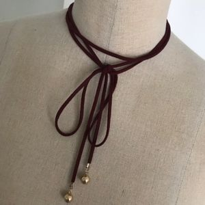 XXI Red Faux Leather and Gold Tie Choker Necklace
